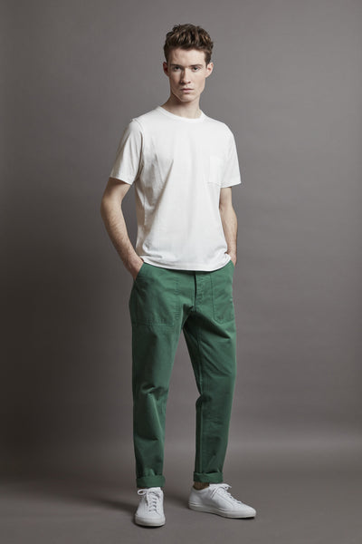 Men's Garment-Dyed Italian Cotton-Twill Chino (Forest Green)