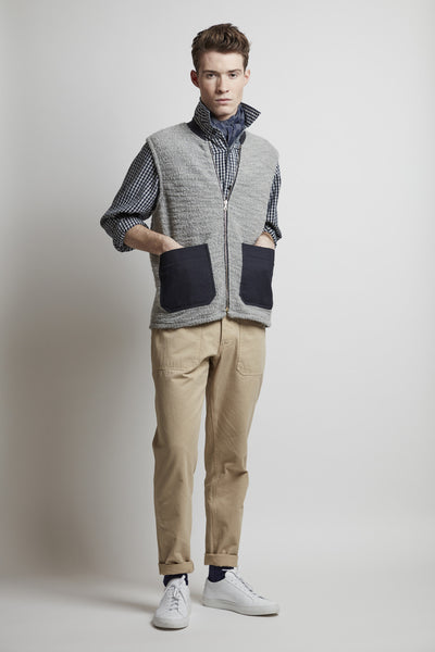 Men's Wool / Cotton Blend Jersey Knit Gilet (Grey / Navy)