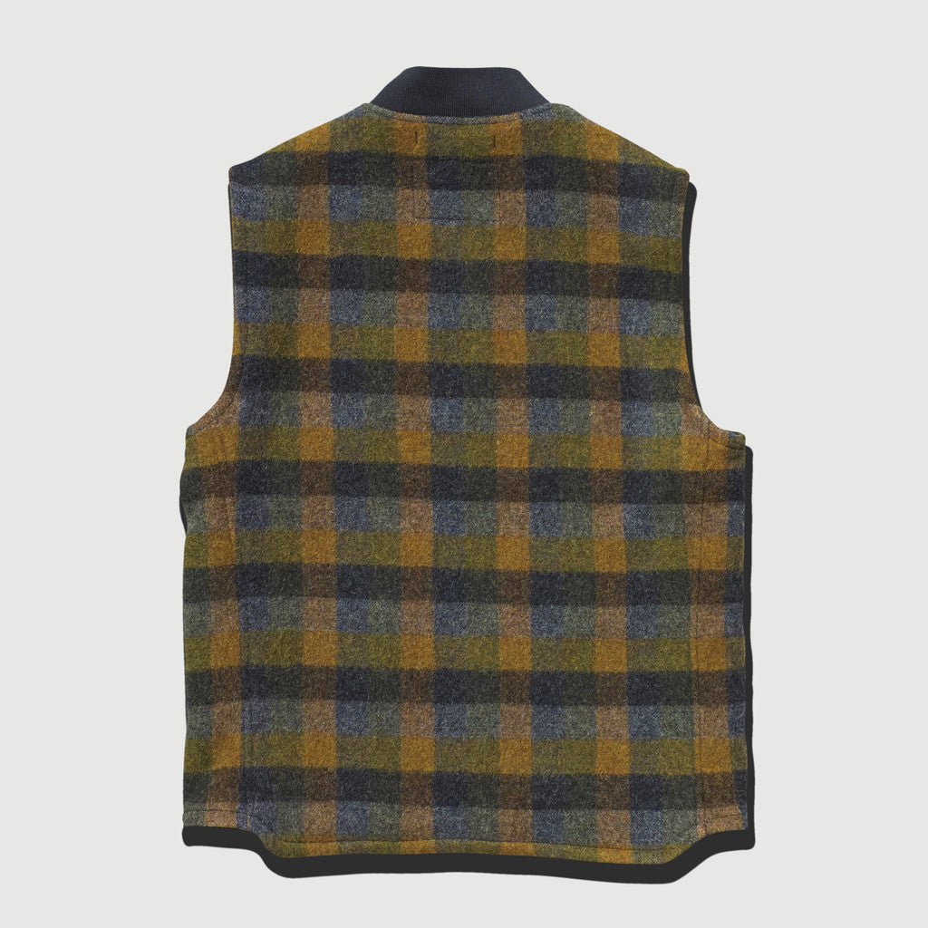 Women's Italian Wool Gilet (Grey / Orange / Navy Check)