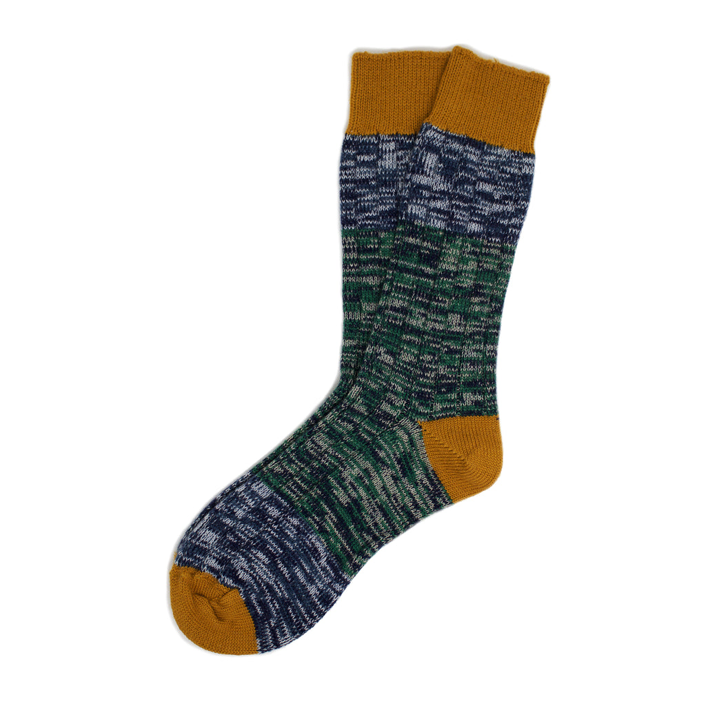 Merino Wool Socks in Gold & Green Mix Block Design