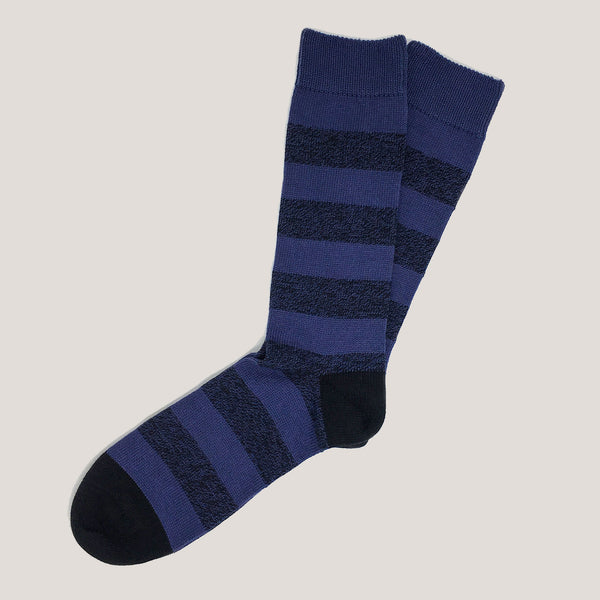 Combed Cotton Socks (Heather Mix Wide Stripe)