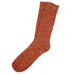 Fine Rib Knit Cotton Socks (Orange Mix)