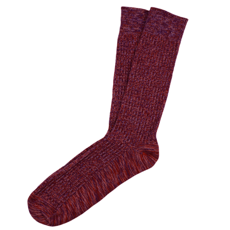 Fine Rib Knit Cotton Socks (Red Mix)