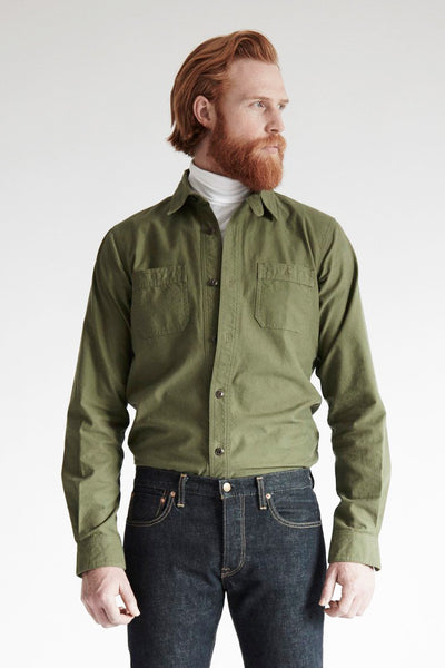 Men's Japanese Nep Cotton Twill Shirt (Olive)
