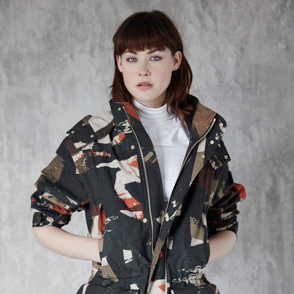 Abstract Camo Printed Shell Jacket / Ltd Edition