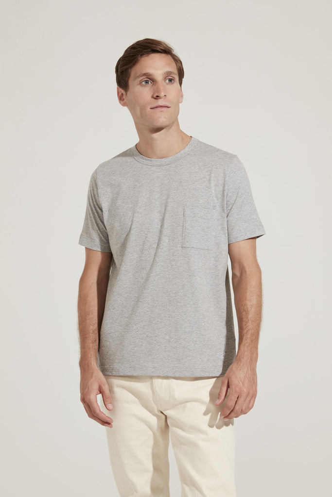 Men's Fine Cotton One Pocket Short Sleeve T-Shirt (Grey)