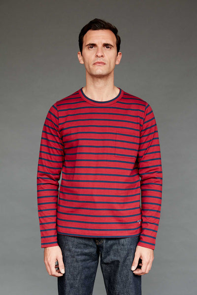 Men's Fine Cotton Long Sleeve T-Shirt (Red / Navy Stripe)