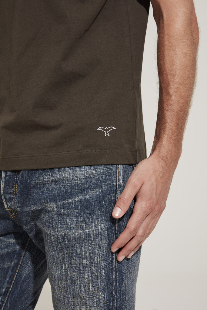 Men's Fine Cotton One Pocket Short Sleeve T-Shirt (Olive)