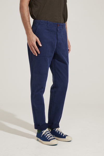 Men's Garment-Dyed Italian Cotton-Twill Chino (French Blue)