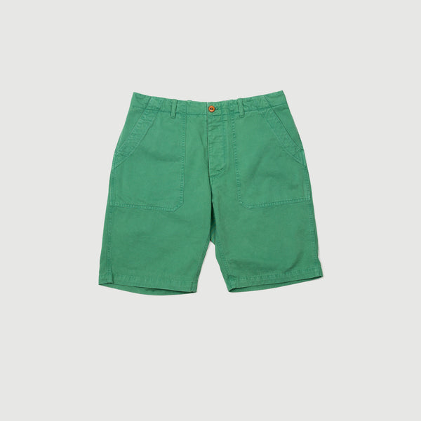 Men's Garment-Dyed Italian Cotton-Twill Shorts (Forest Green)