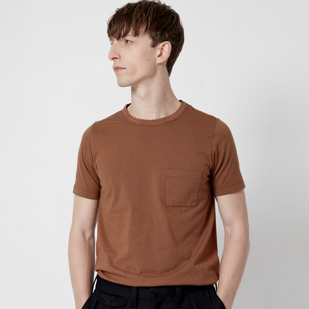 Men's Fine Cotton One Pocket Short Sleeve T-Shirt (Rust)