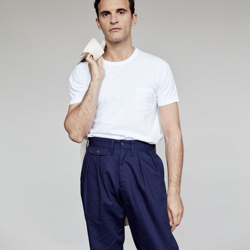 Men's Pleat Front Chino (Navy)