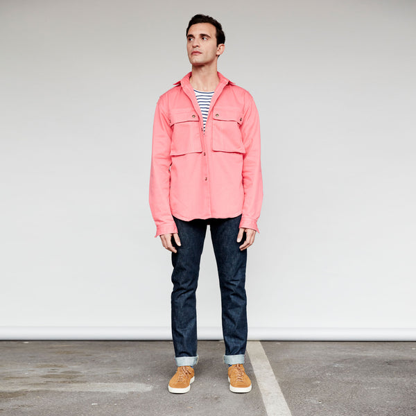 Men's Cotton Shirt Jacket (Salmon Pink)