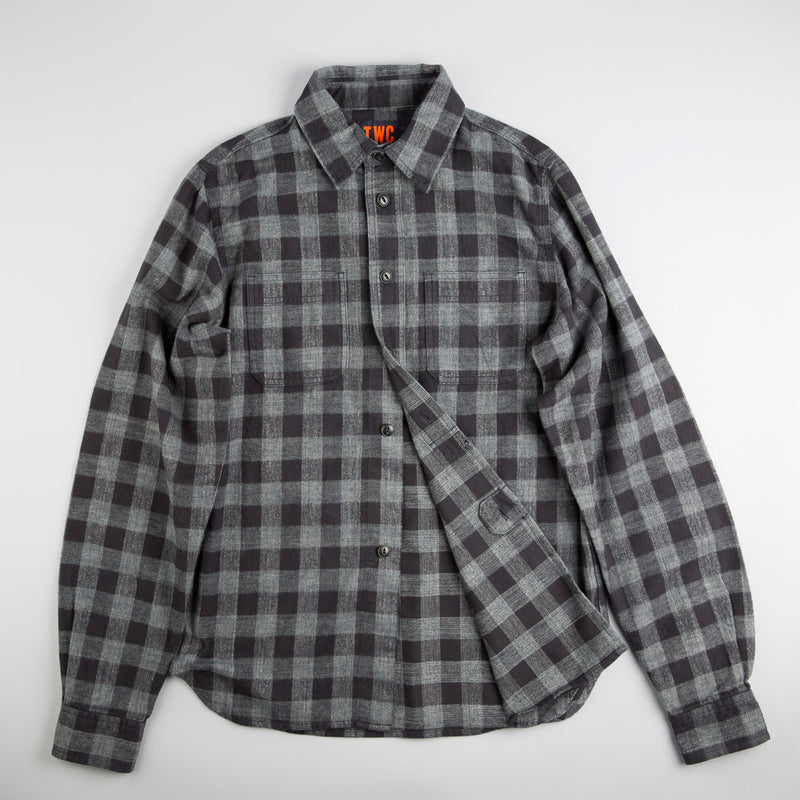 Men's Bold Brushed Check Shirt (Black / Grey)