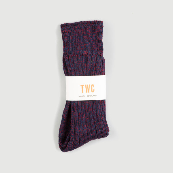 Merino Wool Socks (3 Yarn Mix Burgundy / Navy)
