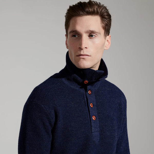Men's Merino Knit Naval Sweater (Navy)
