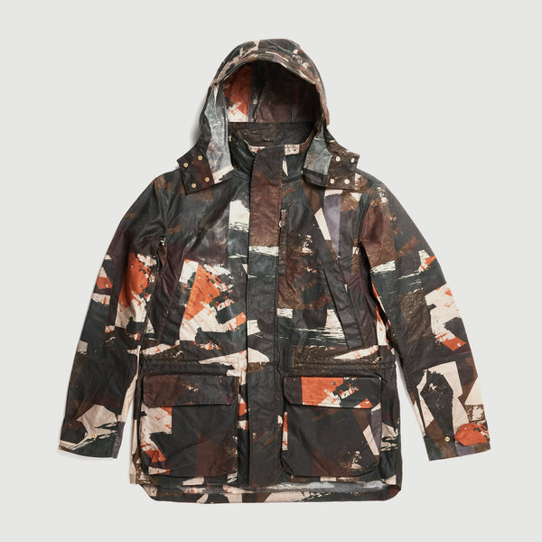 Abstract Waxed Camo Printed Shell Jacket / Ltd Edition