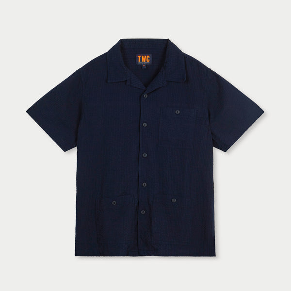 Camp Collar S/Slv Shirt (Navy Seersucker)