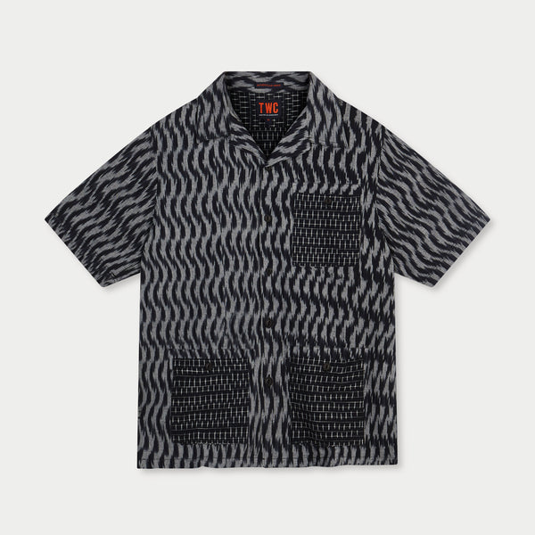 Camp Collar S/Slv Shirt (Ikat weave)