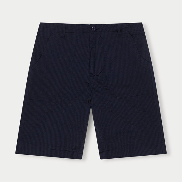 Seersucker Patch Pocket Shorts (Navy)