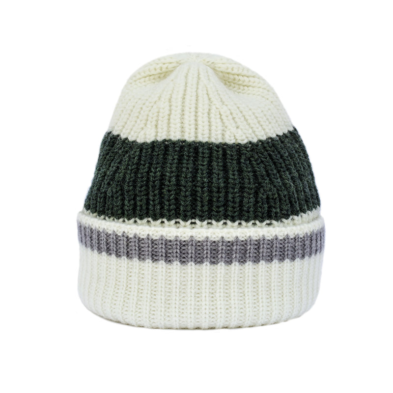 Beanie - Merino Wool in Cream with Green Stripe