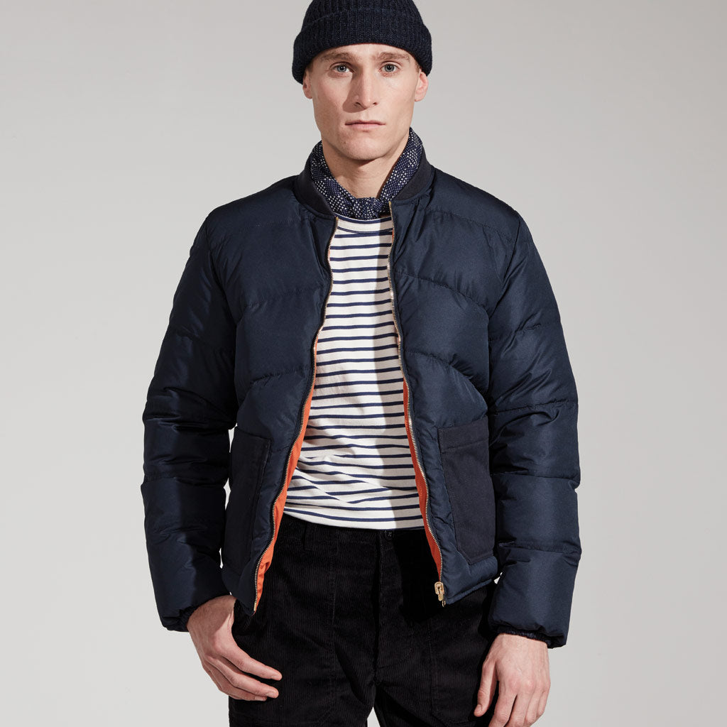 Men's Reversible Down Filled Bomber Jacket (Navy/Orange)