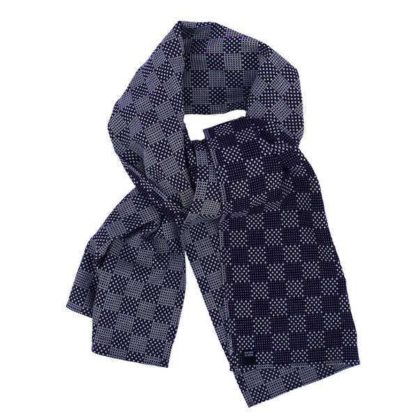 Neck Scarf in Japanese Sashiko Embroidered Cotton