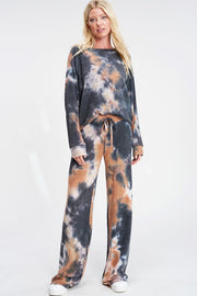 Tie Dye Lounge Set - Camel + Charcoal