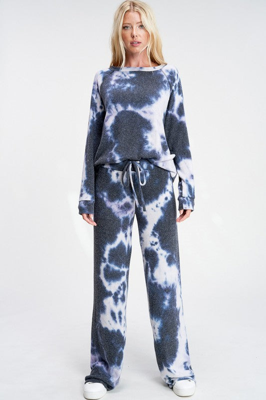 Tie Dye Lounge Set - Navy + White