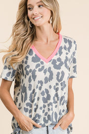 Leopard Thermal Contrast Tee - Taupe