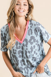 Leopard Thermal Contrast Tee - Light Blue