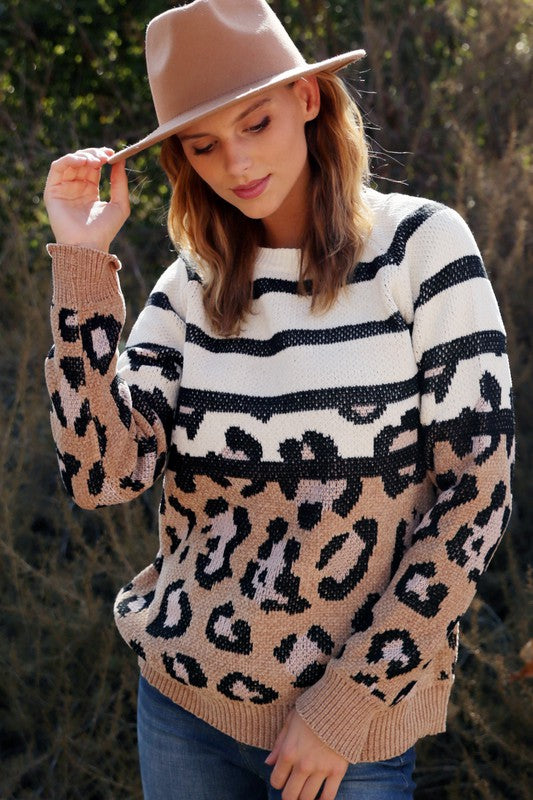 Striped + Leopard Pullover Sweater