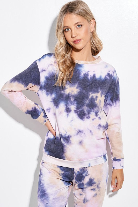 Tie Dye Lounge Set - Navy + Lavender