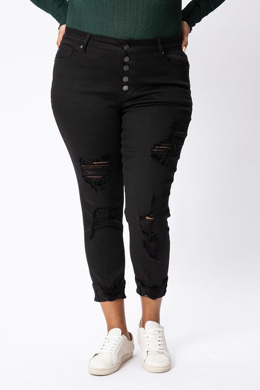 Jessa High Rise Black Ankle Skinny - CURVY