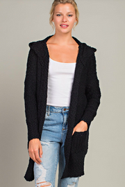 Hooded Open Front Cardigan - Black