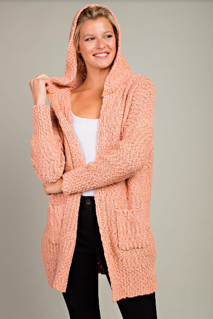 Hooded Open Front Cardigan - Dusty Peach
