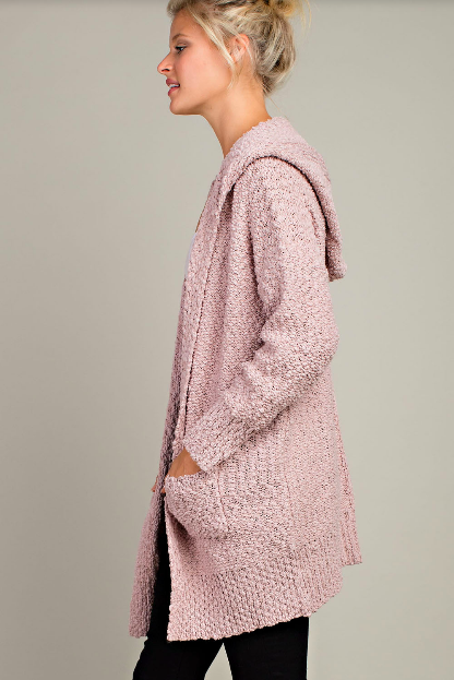 Hooded Open Front Cardigan - Mauve