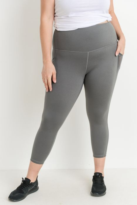 Highwaist Mesh Pocket Plus Leggings - Gray