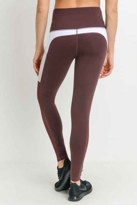 Highwaist Mesh & Colorblock Pocket Leggings - Deep Orchid