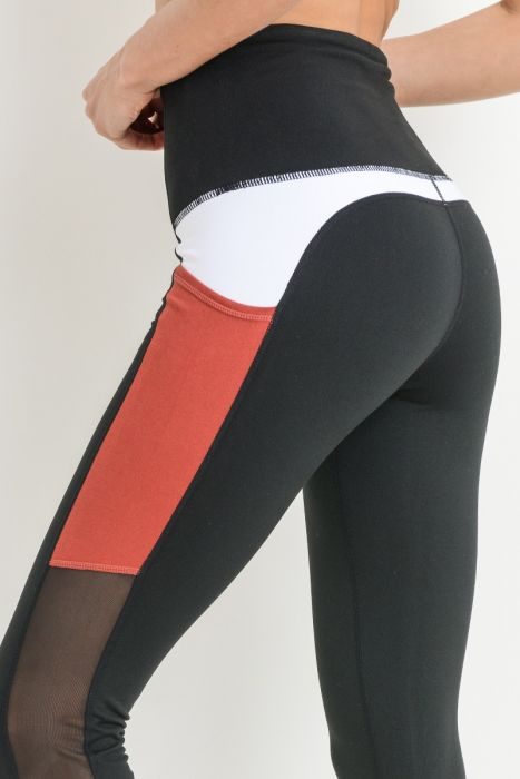 Highwaist Mesh & Colorblock Pocket Leggings - Black
