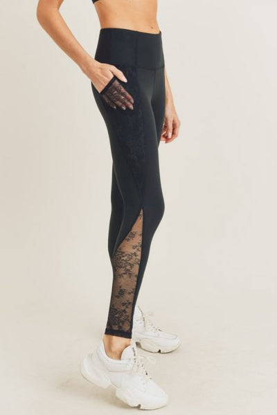 Floral Lace Accent Leggings