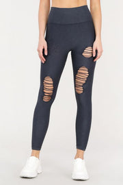 Distressed Seamless Leggings - Black