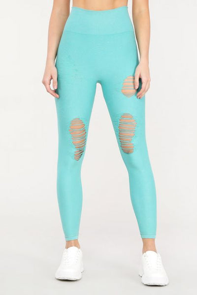 Distressed Seamless Leggings - Jade