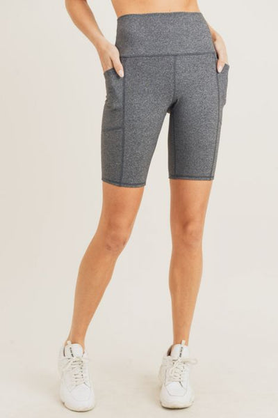 Heather Gray Pocket Biker Shorts