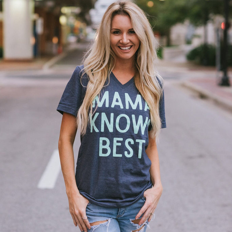 Mama Knows Best Tee - Navy with Mint Print