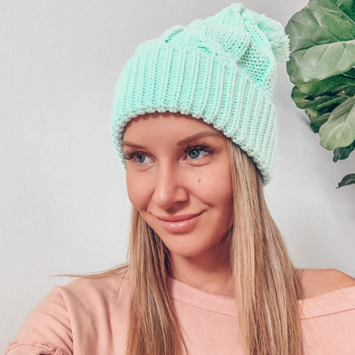 Chunky Cable Knit Beanie - Mint
