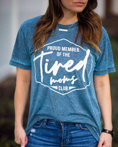 Tired Moms Club Acid Wash Tee