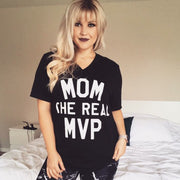 MOM THE REAL MVP V-NECK TEE - Black with White Print