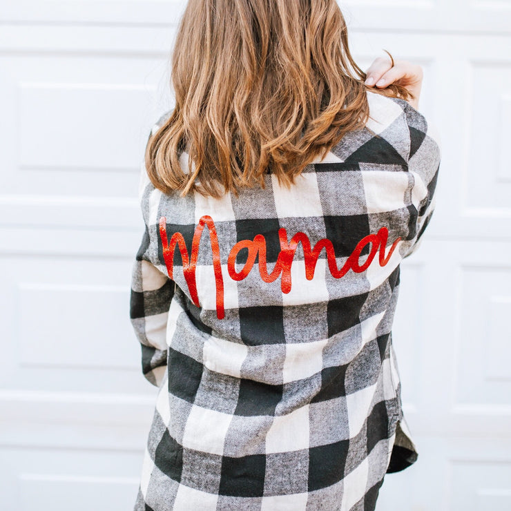 Mama Buffalo Plaid Flannel - White + Black