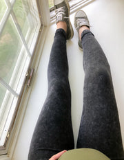 Mineral Washed Leggings - Charcoal